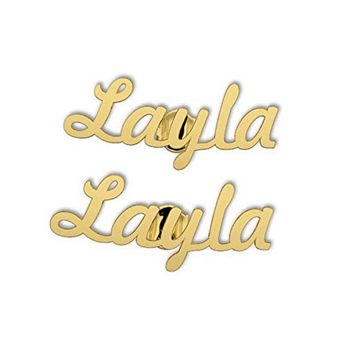 LONAGO Personalized Custom Engraved Name Earrings-Customize Your Own Earring with Name (Gold, -