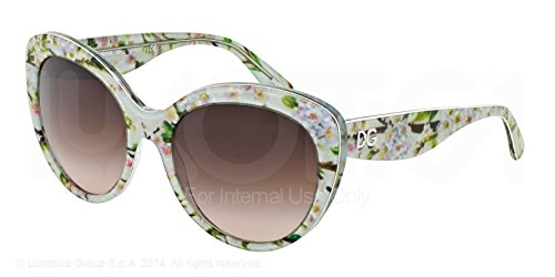 Brown Grad Lens - Dolce & Gabbana DG4236 Sunglass-284313 Aqua Flowers (Brown Grad Lens)-56mm