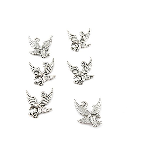 Qty 25 Pieces Ancient Silver Jewelry Making Charms Findings M0833 Eagle Hawk Pendent Bulk for Bracelet Necklace