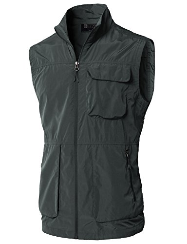 H2H Men's 100% Cotton Outdoor Multi Pocket Vest Darkgray US S/Asia M (KMOV0157) by H2H