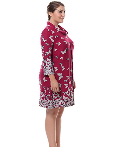 Chicwe Women's Cowl Neck Cashmere Touch Plus Size Dress 14, Red