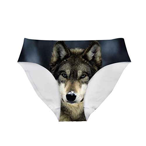83bff7dfca30 Dellukee Sexy Women Hipster Panty Funny Breathable Underwear Briefs Wolf  Print