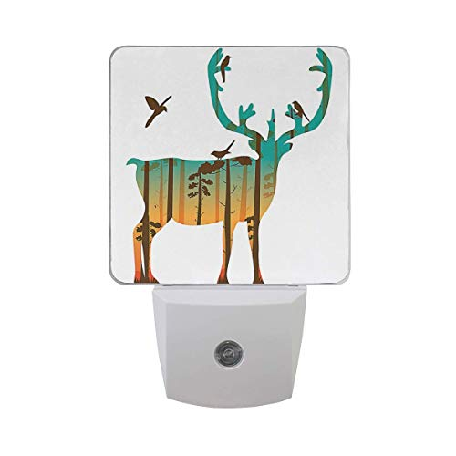 Fashionable 2 Pack Plug in LED Night Light with Smart Dusk to Dawn Sensor, Energy Efficient Night Lamp for Bedroom, Baby Room, Kitchen, Hallway, Stairway, Double Exposure of Caribou