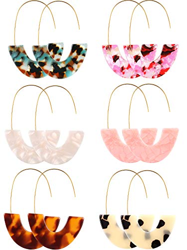 6 Pairs Resin Drop Hoop Dangle Earrings Acrylic Tortoise Shell Statement Earrings in Bohemian Style for Women Girls (Style 2, 6 Pairs)