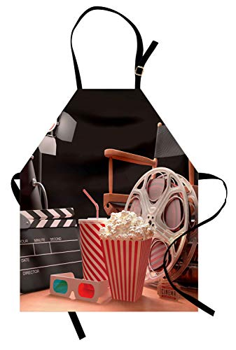 Ambesonne Movie Theater Apron, Objects of The Film Industry Hollywood Motion Picture Cinematography Concept, Unisex Kitchen Bib Apron with Adjustable Neck for Cooking Baking Gardening, -