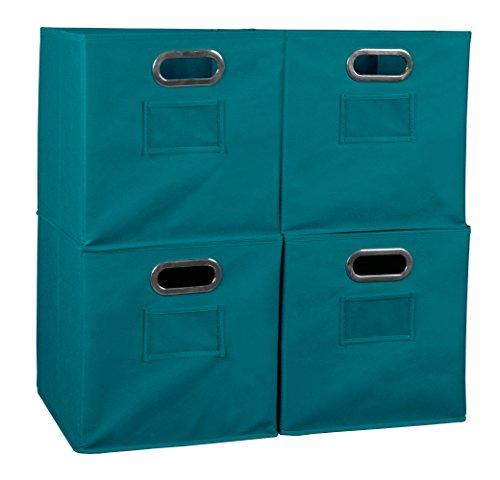 Niche Set of 4 Cubo Foldable Fabric Bins- Teal