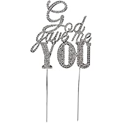 Pixnor Sparkle Rhinestone God Gave Me You Wedding Cake Topper Bling Custom Decoration Large