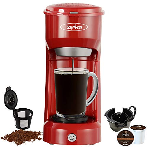Single Serve Coffee Maker Brewer for K-Cup and Ground Coffee, Coffeemaker With Permanent Filter, 6oz to 14oz Mug, One-touch Control Button(Red)
