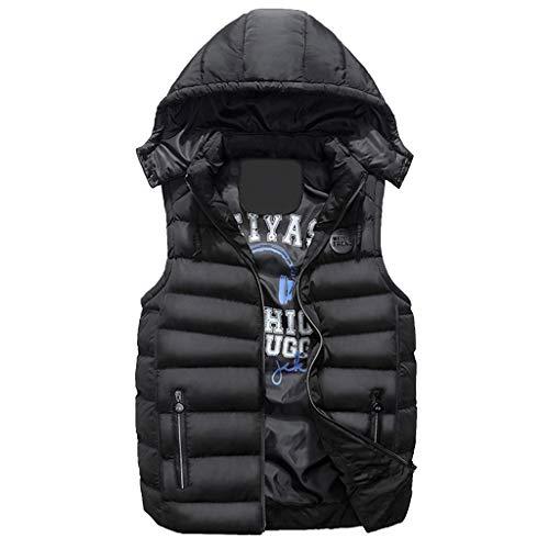 Tops Homme En Mode Manches À Capuche Noir Padded Coton Rembourrée E sanfashion Veste Manteau Double Chaud Léger Sans Gilet Shirt 6w5zqB