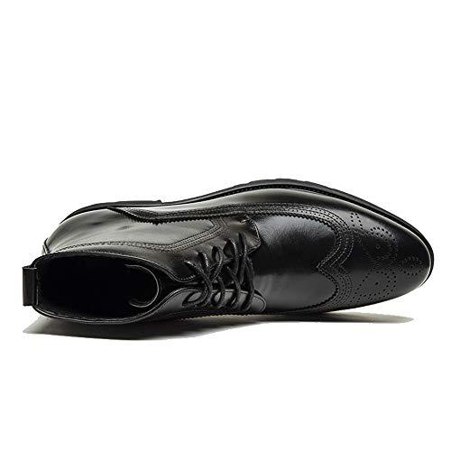 Pu Lacets En Noir 6 Cuir Pour Homme shoes Chaussures Uk Noir Jiuyue 2018 À 0Onztxxw