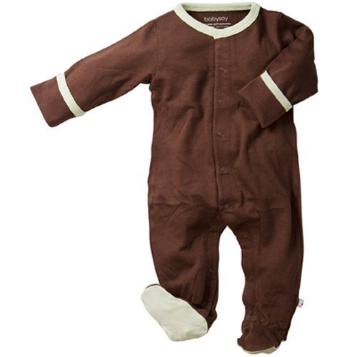 Babysoy Footed One Piece - Chocolate - 3-6 months