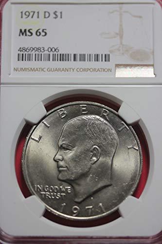 (1971 D Eisenhower Ike Dollar $1 Professionally graded MS-65)