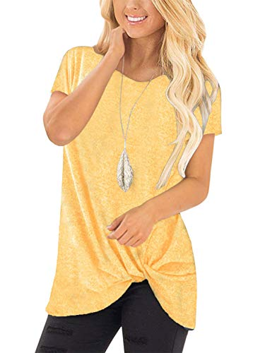 noabat Yellow Tops Blouse Crewneck T-Shirt Short Sleeve Tunics for Women Twist Front Small