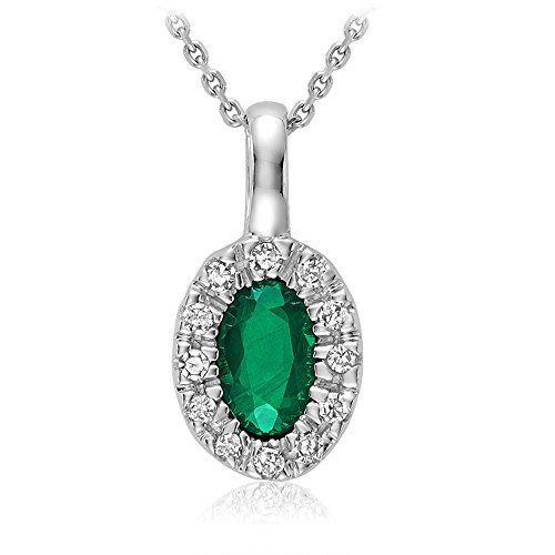 10K Gold Natural Diamond and Genuine Emerauld Pendant (0.04TDW H-I Color,I1 Clarity) 18