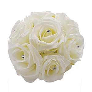 Abbie Home Handmade Bridesmaid Bouquets Rose Rhinestone Wedding Artificial Silk Flower-2pcs-White 77