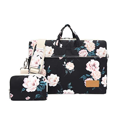 (Canvaslife Peony Pattern 15 inch Waterproof Laptop Shoulder Messenger Bag for 14 Inch to15.6 inch Laptop and MacBook Pro 15 Laptop Case)
