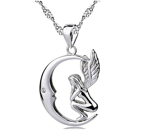"Price comparison product image Sterling Silver Pendant Necklaces Cubic Zirconia Crystal Angel on Moon Bling Girl Women Jewelry 18"" Chain"