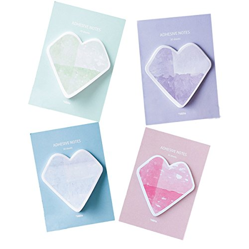 Sticky Notes Self-sticky Heart Shape, Bookmark Page Marker Memo Office Repost Gift for Students Children 120 - Girls Repost