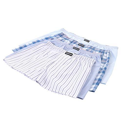 LAETAN Men's 4 Pack Soft Cotton Woven Boxer Short (Medium, Assorted Light Colors, Blue, While, etc)