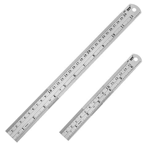 ZZTX Heavy Duty 100% Stainless Steel Ruler Set 12 Inch (30 CM) + 6 Inch (15 CM) Metal Rulers Kit - Perfect Straight Edge For Easy Measurements
