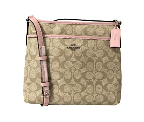 Coach Signature Zip File Crossbody Bag (SV/Light Khaki Carnation), Medium