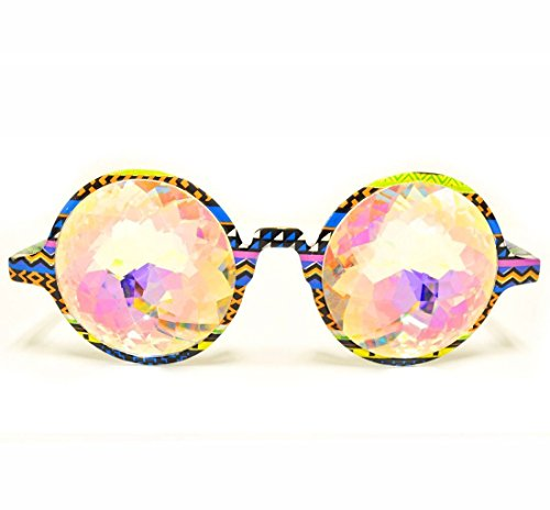 - GloFX Tribal Kaleidoscope Rave Glasses- Rainbow Crystal Glass Diffraction Lens