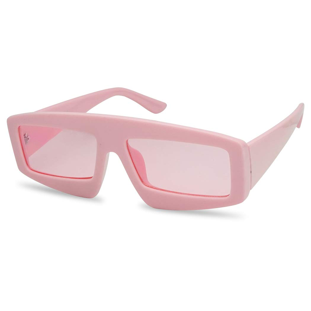 Futuristic Chunky Rectangular Sleek Sunglasses Retro Unisex Style Assorted Color Glasses (Pink Frame | Pink) by SunglassUP