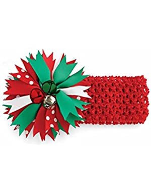 Girl's Holiday Headbands Red Girl's Jingle Bell Soft Headband