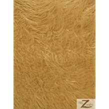 """FAUX FAKE FUR SOLID MONGOLIAN LONG PILE FABRIC - Camel - 60"""" WIDTH SOLD BY THE YARD SHAGGY"""