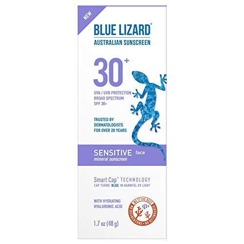 Blue Lizard Sensitive Face Mineral Sunscreen with No Chemical Ingredients SPF 30 UVA/UVB Protection, 1.7 oz Tube (Best Chemical Sunscreen For Face)