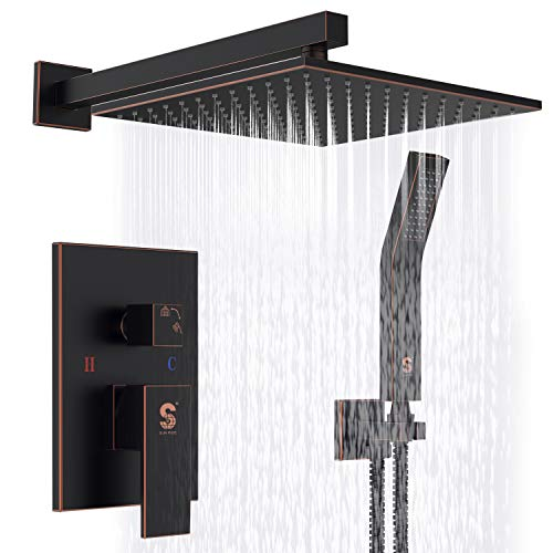 SR SUN RISE Oil Rubbed Bronze Shower System 10 Inch Brass Bathroom Luxury Rain Mixer Shower Combo Set Wall Mounted Rainfall Shower Head System(Contain Shower faucet rough-in valve body and trim) ()