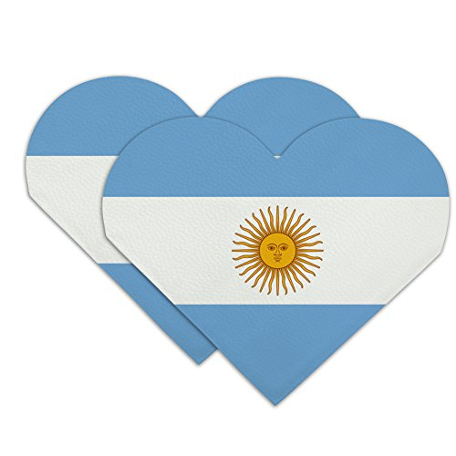 Argentina Country Flag Heart Faux Leather Bookmark - Set of 2