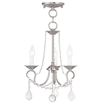 Livex Lighting 6513-91 Pennington 3 Light Convertible Hanging Lantern Ceiling Mount, Brushed Nickel