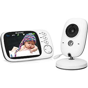 Intercom, Visi/ón Nocturna, Sensor de temperatura, Lullabies Monitor para beb/é con c/ámara Monitor inal/ámbrico para beb/é Zeepin Digital con pantalla LCD de 5 Monitor para beb/é blanco