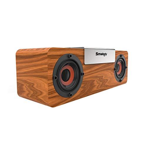 Smalody Bluetooth 5.0 Wooden Multifunction Wireless Speaker - GorNorriss Bluetooth Speaker New Portable Wooden Bluetooth Wireless Speaker 3D HiFi Stereo TWS Loudpeaker FM E2R9