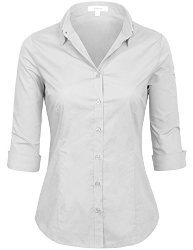 (KOGMO Womens Classic Solid 3/4 Sleeve Button Down Blouse Dress Shirt (S-3X)-2X-White)