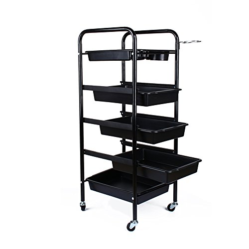 Salon Trolley, 5 Tier Black hairdresser trolley hair salon trolley cart with 4 swivel casters multifunction top layer, 37 x 32 x 85 cm