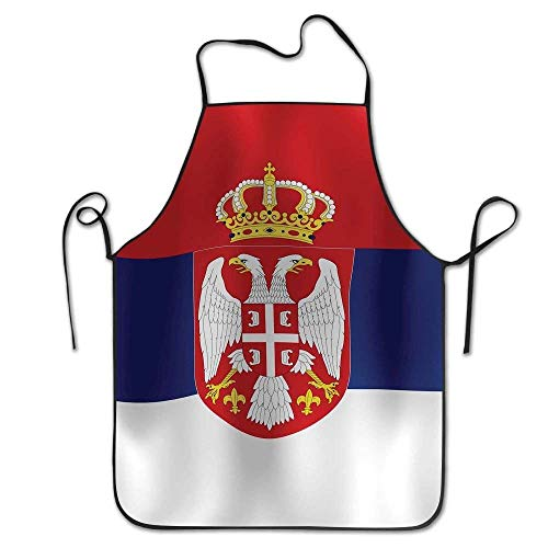 Wave Striped Serbian Flag Aprons Bib Mens Womens Lace Adjustable Polyester Chef Cooking Long Full Kitchen Aprons for Indoor Restaurant Cleaning Serving Crafting Gardening Baking BBQ Grill
