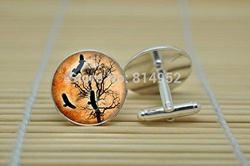 Pretty Lee Crown Jewelry Crown Vintage Style Goth Steampunk Cufflinks In Silver Glass Cabochon Cuff Links C1182