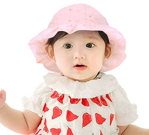 Floral Pig (SimpliKids Baby Infant Lovely Floral Embroidered Floppy Wide Brim Sun Hats ,Pink,0-12 Months)