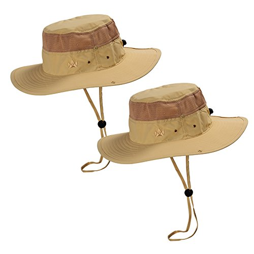 The Friendly Swede Sun Hats 2-Pack - Safari Hat for Men Women and Children, Boonie Hat, Camping Hat, Fishing Hat, Summer Hat, Gardening Hat (Khaki) - Jungle Boonie Hat
