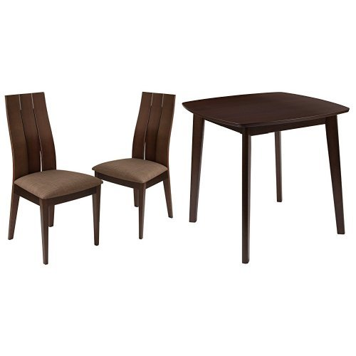 Flash Furniture Barrington 3 Piece Espresso Wood Dining Table Set with Wide Slat Back Wood Dining Chairs - Padded Seats Beechwood Slat Back Kitchen Chair