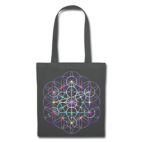 Bag Flower Spreadshirt Graphite Buddhism Life Grey Of Tote 41wdZn4X