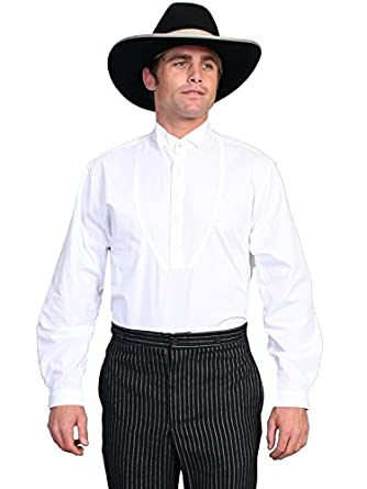 Victorian Men's Shirts- Wingtip, Gambler, Bib, Collarless Wing Tip Collar Bib Long Sleeve Shirt  AT vintagedancer.com