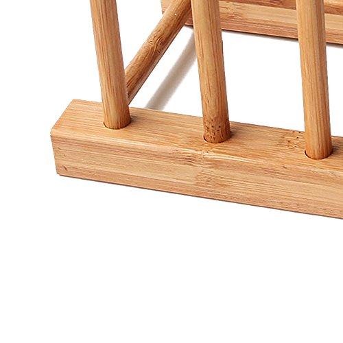 SODIAL Estante de plato Soporte de plato de madera bote Sostenedor escurridor de exposicion de raza de cocina de mader NUEVO