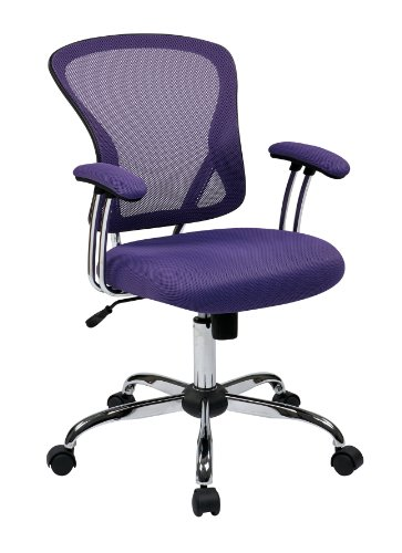 AVE SIX Juliana Mesh Back and Padded Mesh Seat Adjustable Task Chair with Padded Arms and Chrome Accents, Purple