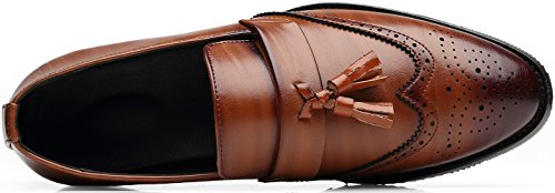 tip NJiang Shoes on Wing Classic Men's Brogue Business Dress Formal Slip Prince Loafers Tassel Leather Brown Rrnqt0xR