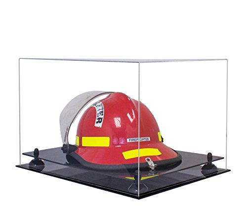Deluxe Clear Acrylic Fireman's Helmet Large Display Case with Black Risers (A014-BR)