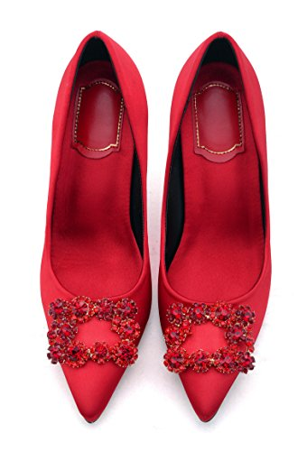Taille Femme Escarpins Luxe Diamant Grande Rouge Stilettos Chaussures Ubeauty HRgwqBn