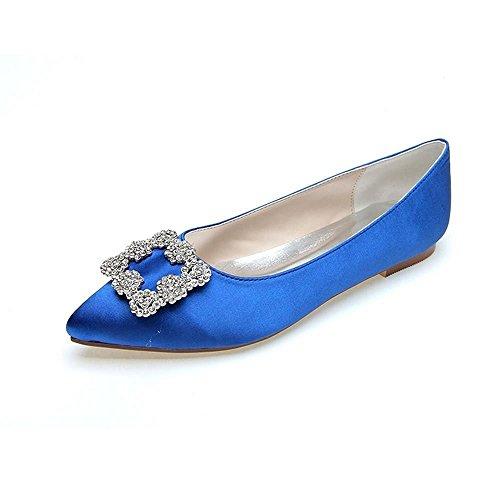 Satin Partie Femmes Chaussures Soie Couleur Tempérament Duoai Mariage Télévision Chaussures Pleine Femmes Chaussures 36 Bleu AHzgwxPtq